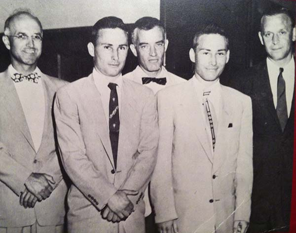 The First Kidney Transplant - Medical Team & Patients - From left: Recipient Transplant Surgeon Joseph E. Murray, Recipient Patient Richard Herrick, Nephrologist John P. Merrill, Donor Patient Ronald Herrick and Donor Transplant Surgeon J. Hartwell Harrison (Boston MA, 1954)