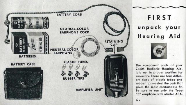 Vintage Zenith Model A3A 3-Vacuum Tube Hearing Aid, Circa 1944