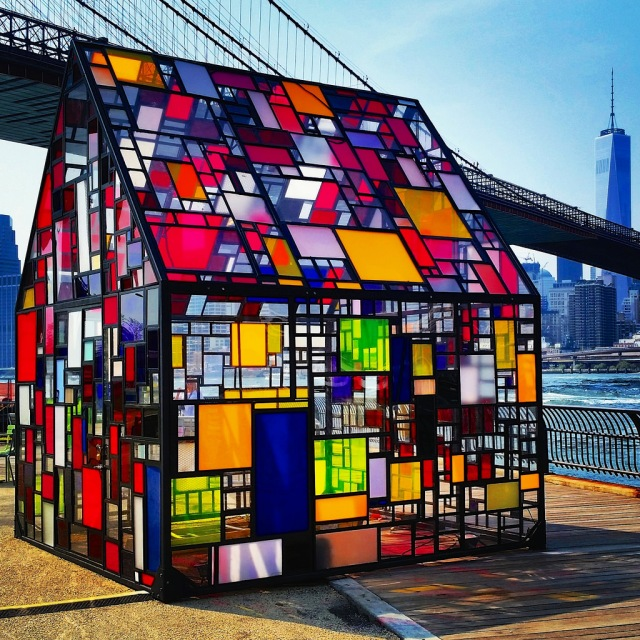 Tom Fruin's Stained Glass House down by the Brooklyn Bridge. Photo by Joe Shlabotnik.