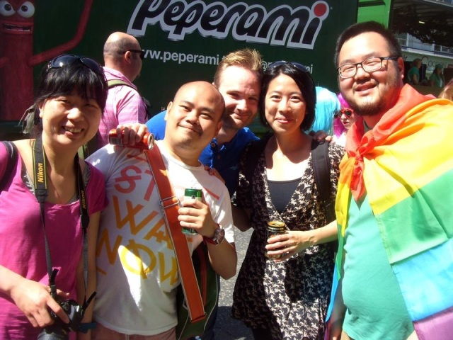 Yeyang Su (left) and her friends at Brighton Pride in 2015