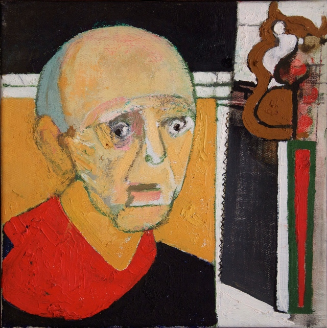 """Self portrait with Saw"" (1997) by William Utermohlen « Courtesy of Chris Boïcos Fine Arts, Paris »"
