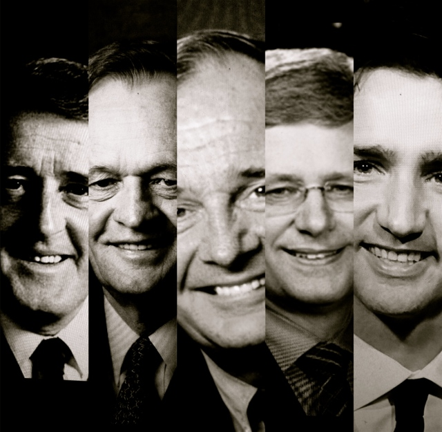Pictured from left to right are the Canadian Prime Ministers who, since the 1980s, have introduced a federal science policy: Brian Mulroney, Jean Chrétien, Paul Martin, Stephen Harper, and Justin Trudeau