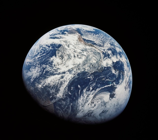 The first image ever taken by humans of the whole Earth (1968), probably photographed by William Anders.