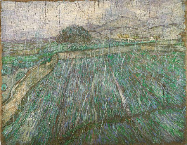 Wheat Field in Rain (1889) Vincent Willem van Gogh